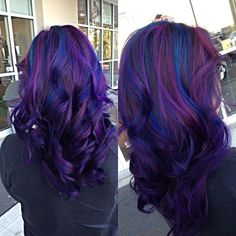 blue pink red purple Hair Color idea for brown hair straight HZTGhfJR