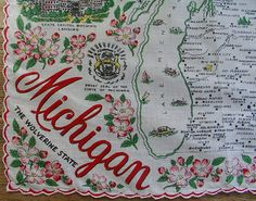 Michigan state map + pink apple blossoms [handkerchief / scarf]