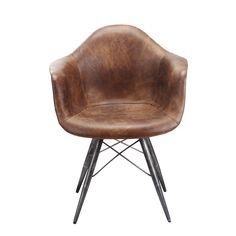 This brown retro side chair will add a classic look to any living space. Ergonomically shaped for comfort, this brown molded leather chair features wooden legs with black steel hardware.