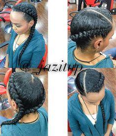 Two Cornrows into a Side Braid 2 Cornrow Braids, Ghana Braids, African Braids, Cornrows Into A Bun, 2 Braids With Weave, Two Braids, Braids For Kids, 2 Feed In Braids, Crown Braids