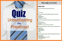 Here is a quiz about the Priesthood. There are 38 questions. This would make a great Family Home Evening Or a good study for your journals Or it would be great for a Young Women or Men's lesson And it would go great with D&C 20, 84, and 107 if you teach seminary. It is …