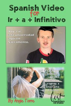 """Spanish Video for, """"Ir + a + Infinitivo"""" provides comprehensible input for the use of the Spanish expression, """"Ir + a + infinitivo"""". Rodrigo talks about what he is going to do and uses many examples of the Immediate Future in context. Includes script, vocab, 2 practice activities and 2 group activities"""