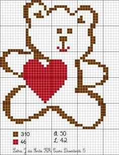 Teddy Bear with heart Cross Stitch Heart, Cross Stitch Cards, Cross Stitch Animals, Cross Stitching, Cross Stitch Embroidery, Embroidery Patterns, Baby Boy Knitting Patterns, Knitting Charts, Baby Knitting