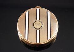 3d340b399 Art Deco Tiffany & Co 14K Yellow Gold Enamel Mirrored Compact Pendant  32.6 Gr #
