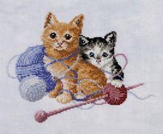 playful kittens cross-stitch