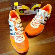 low priced 36434 a4280 adidas Shoes  Adidas Adizero Boost Running Sneaker Shoes  Color  OrangeWhite