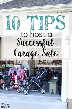 10 tips to prepare for hosting a successful, money-making garage sale: how to advertise, how to price, and how to invite customers and make a profit. Garage Sale Signs, Garage Sale Pricing, Garage Shop, Garage Sale Organization, Workshop Organization, Organizing, Garage Sale Advertising, Neighborhood Garage Sale, Rummage Sale