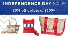 Independence Day Sale: 25% Off Orders of $100+ use code JULY4. Ends 7/6/14. Maggie Bags seatbelt handbags and totes. Durability meets design. #4thofJuly #sale #MaggieBags