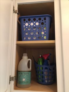 AFTER: Cabinet organization Cleaning Day, Laundry Detergent, Laundry Room, Organization, Canning, Cabinet, Getting Organized, Clothes Stand, Organisation