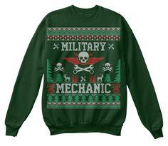Military Mechanic Ugly Christmas Sweater Deep Forest  Sweatshirt Front