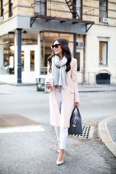 Blush Pink Coat & Skinny White Jeans