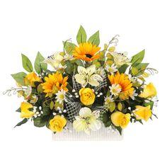 Jardinera Todos los Santos. Jardinera cerámica cementerio flores artificiales. Rosas amarillo alstroemerias bicolor y girasoles con hojas relleno. Alto 30 cms.