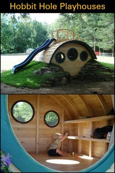 These Unique Playhouses Are Inspired by The Famous Hobbit Holes From The 'Lord. These Unique Playhouses Are Inspired by The Famous Hobbit Holes From The 'Lord of The Rings' Movie Source by ktinhb Hobbit Playhouse, Build A Playhouse, Playhouse Outdoor, Wooden Playhouse, Backyard Playground, Backyard For Kids, Children Playground, Backyard Treehouse, Pallet Playground