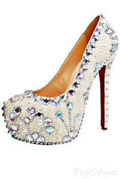 HONEYSTORE Pearls & Crystal Leather Pump <3<3