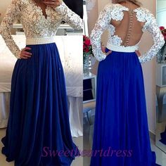 Hand made pretty navy blue A-line long prom dress, modest dress for teens, backless long sleeve evening dress, 2016 occasion dresses Royal Blue Prom Dresses, Prom Dresses 2016, Dance Dresses, Bridesmaid Dresses, Dress Prom, Prom 2016, Bridesmaids, Modest Dresses For Teens, Formal Dresses