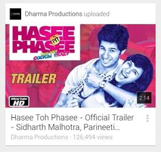 """#BBXclusiveTrailer Checkout """"Hasee Toh Phasee - Official Trailer - Sidharth Malhotra, Parineeti Chopra"""" on YouTube - https://www.youtube.com/watch?v=Xv5MG0LhaP4&feature=youtube_gdata_player  The official trailer of Dharma Productions and Phantom Films' upcoming movie Hasee Toh Phasee. The film is directed by Vinil Mathew and stars Sidharth Malhotra as Nikhil and Parineeti Chopra as Meeta. Enjoy the ride as love goes cuckin frazy!  Hasee Toh Phasee is set to release on 7th Feb, 2014.   Enjoy…"""