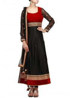 Black anarkali suit with embroidered waist line