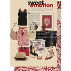 sweet emotion red paisley and black, created by kathy-martenson-sanko on Polyvore
