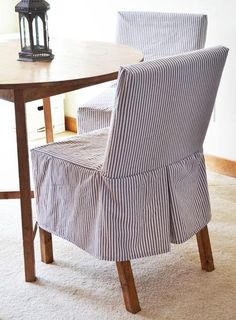 Easiest Parson Chair Slipcovers, a blue stripe would look nice