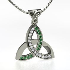 Triqueta Pendant with Gems, White Gold Necklace with Emerald