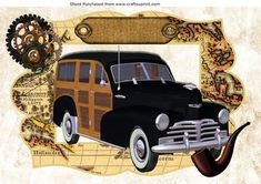 1948 Black and tan woody in a map frame A4 on Craftsuprint - Add To Basket!