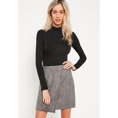 Missguided Faux Suede Asymmetric Wrap Mini Skirt ($43) ❤ liked on Polyvore featuring skirts, mini skirts, grey, asymmetrical skirt, grey mini skirt, grey asymmetrical skirt, short grey skirt and wrap skirt