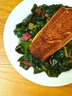 Pan Seared Salmon with Garlicky Swiss Chard -- just 6 ingredients, plus salt and pepper.