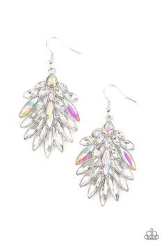 COSMIC-politan - Multi Paparazzi Accessories, Paparazzi Jewelry, Pink Peacock, Fish Hook Earrings, Drop Earrings, Silver Frames, Rhinestone Earrings, Cosmic, Iridescent