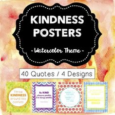 Use these kindness posters in a variety of ways! 1. School Visuals -Add a boost to your classroom decor, office or in the school hallways. 2. Kindness Quote of the Week -Use one of the title options options (provided in download) -Choose a different kindness quote to hang each week 3.