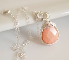 Coral Necklace Wire Wrapped Necklace