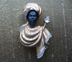 African Prince Blackamoor Brooch. via Wordy and Wise shop on Etsy. [Oh I wish I could afford him!]