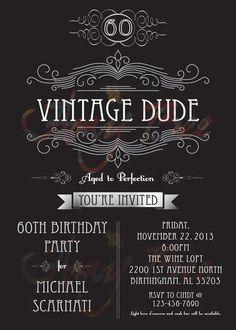 Vintage Dude Invitation Man Birthday By AmyBeeCreations On Etsy
