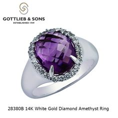 This extraordinary 14K White Gold Diamond Amethyst ring was born to stand out.  This stunning ring features an oval #amethyst surrounded by a halo of sparkling #diamonds. Visit your local #GottliebandSons retailer and ask for style number 28380B. http://www.gottlieb-sons.com/product/detail/28380B