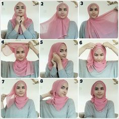 Easy square hijab tutorial.