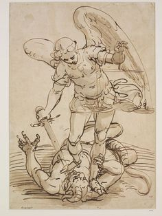 Luca Cambiaso, 1527-1585. St. Michael overcoming the Devil, Pen and bistre, washed | VA