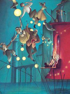 "Éric Puybaret illustration from ""The Red Stilts""."