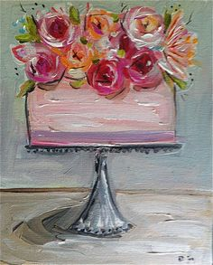 Cake Painting with flowers cake stand pink by DevinePaintings