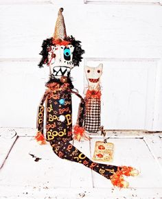 Folk Art Whimssy Witch Cat Raggedy Dolls Tildy  Tad by WitchIsWhy, $39.99