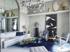 cientouno: Furniture for living room ideas White Elle Decor 56 Lovely Living Room Design Ideas Best Modern Living Room Decor Living Room Small, Living Room Grey, Living Room Decor, Living Rooms, Living Room Sofa, Bedroom Walls, Home Decor Bedroom, Chic Retro, Blue Painted Walls