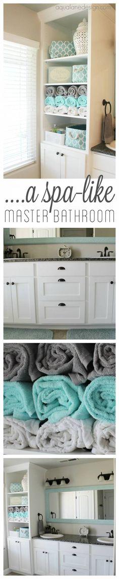 Transform your master bath into a spa with these organization tips. #Bathroom #BathroomIdeas #BathroomInspiration