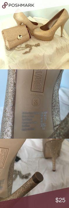 4 1/2 inch Gold Glitter Heels & Purse Gold Glitter Heels w/ Matching Purse Brash Shoes Heels