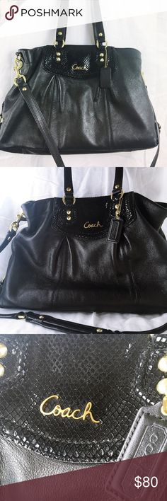 Coach Ashley black leather women's satchel Excellent used condition! No tears, rips or stains on the leather. Coach Bags Satchels