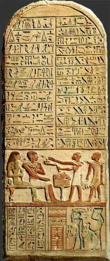 The bottom part of the stela shows servants in the tomb serving food to the dead in the afterlife. Food and statues of servants were buried with the deceased to serve them in death, just as they had served them in life. (http://media-cache-ec0.pinimg.com/736x/e7/89/0b/e7890bed5c5650384c9af8816e654435.jpg