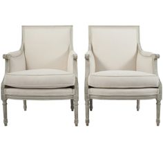 pair of gustavian style bergeres - sweden - c1870 -  LENGTH:   27 in. (69 cm)     DEPTH:   27 in. (69 cm)     HEIGHT:   37 in. (94 cm)