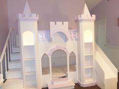 New Custom Princess Eleanor's Castle Loft Bunk Playhouse Bed Princess Loft Bed, Princess Castle Bed, Princess Theme, Loft Bed Plans, Murphy Bed Plans, Wooden Bunk Beds, Kids Bunk Beds, Little Girl Beds, Playhouse Bed