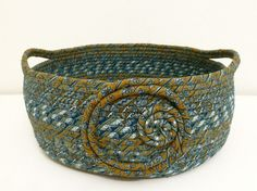 Large Fabric Coiled Bowl/Basket in Teal/Aqua/Browns by DMcGettigan, $39.00