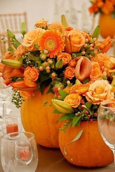 Pumpkin bouquet for centerpieces perfect for either a Halloween wedding or a Thanksgiving table! Dark or black flowers or filler could be added to either as well Thanksgiving Table Settings, Thanksgiving Decorations, Table Decorations, Holiday Decor, Thanksgiving Ideas, Family Holiday, Thanksgiving Flowers, Pumpkin Decorations, Thanksgiving Tablescapes