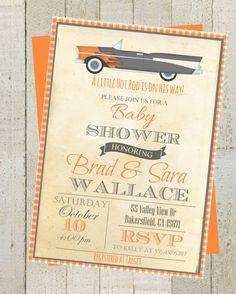 Little Hot Rod Vintage Baby  Shower  Invite  by themilkandcreamco Little Hot Rod Vintage Baby Shower Invite, Invitation with Classic Car, Orange Gray Baby Shower Invite, Digital File