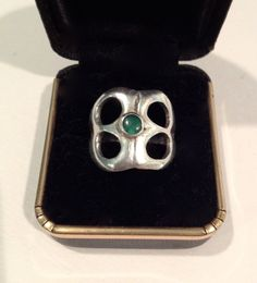 Mid century Silver RIng with Turquoise Stone