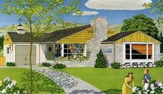 50s house plan and rendering - Google Search
